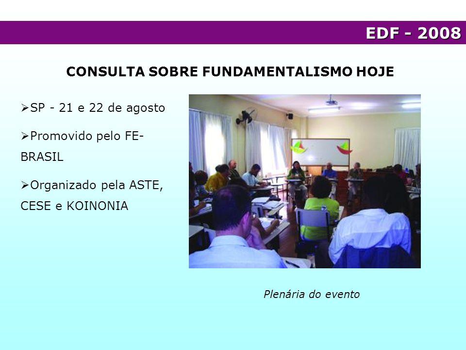 CONSULTA SOBRE FUNDAMENTALISMO HOJE EDF - 2008 Plenária do evento SP - 21 e 22 de agosto Promovido pelo FE- BRASIL Organizado pela ASTE, CESE e KOINON