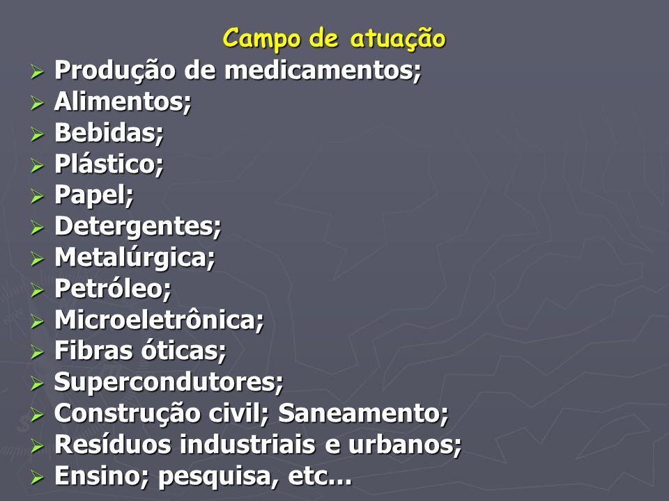 Campo de atuação Produção de medicamentos; Produção de medicamentos; Alimentos; Alimentos; Bebidas; Bebidas; Plástico; Plástico; Papel; Papel; Deterge