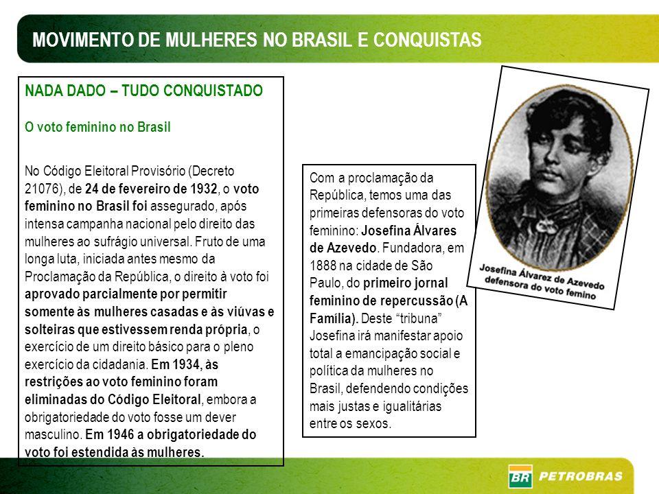 MOVIMENTO DE MULHERES NO BRASIL E CONQUISTAS NADA DADO – TUDO CONQUISTADO O voto feminino no Brasil No Código Eleitoral Provisório (Decreto 21076), de 24 de fevereiro de 1932, o voto feminino no Brasil foi assegurado, após intensa campanha nacional pelo direito das mulheres ao sufrágio universal.