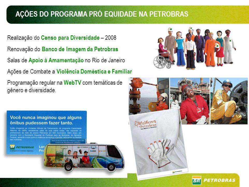 Realização do Censo para Diversidade – 2008 Renovação do Banco de Imagem da Petrobras Salas de Apoio à Amamentação no Rio de Janeiro Ações de Combate a Violência Doméstica e Familiar Programação regular na WebTV com temáticas de gênero e diversidade.