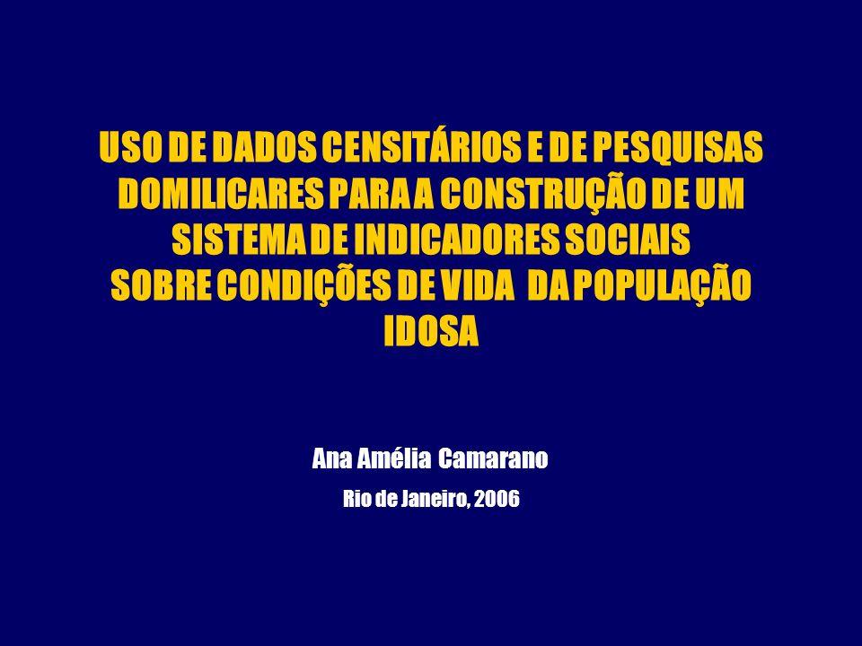 USO DE DADOS CENSITÁRIOS E DE PESQUISAS DOMILICARES PARA A CONSTRUÇÃO DE UM SISTEMA DE INDICADORES SOCIAIS SOBRE CONDIÇÕES DE VIDA DA POPULAÇÃO IDOSA Ana Amélia Camarano Rio de Janeiro, 2006