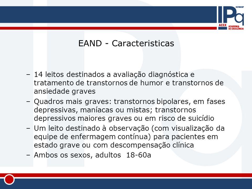 EAND - Caracteristicas –14 leitos destinados a avaliação diagnóstica e tratamento de transtornos de humor e transtornos de ansiedade graves –Quadros m