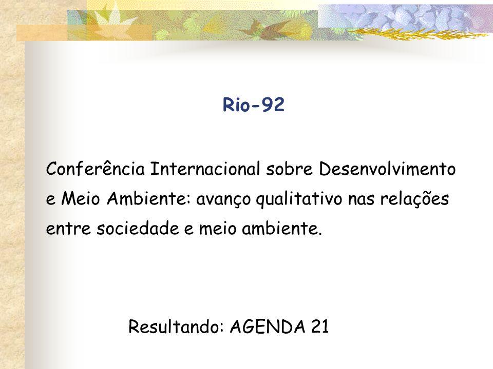 Rio-92 Conferência Internacional sobre Desenvolvimento e Meio Ambiente: avanço qualitativo nas relações entre sociedade e meio ambiente. Resultando: A
