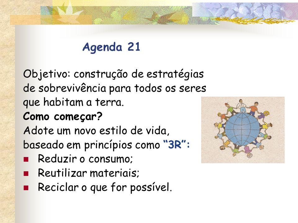 Agenda 21 Objetivo: construção de estratégias de sobrevivência para todos os seres que habitam a terra. Como começar? Adote um novo estilo de vida, ba