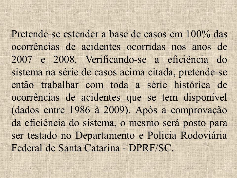 Pretende-se estender a base de casos em 100% das ocorrências de acidentes ocorridas nos anos de 2007 e 2008. Verificando-se a eficiência do sistema na