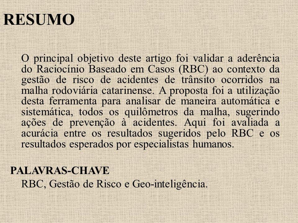 RESUMO O principal objetivo deste artigo foi validar a aderência do Raciocínio Baseado em Casos (RBC) ao contexto da gestão de risco de acidentes de t