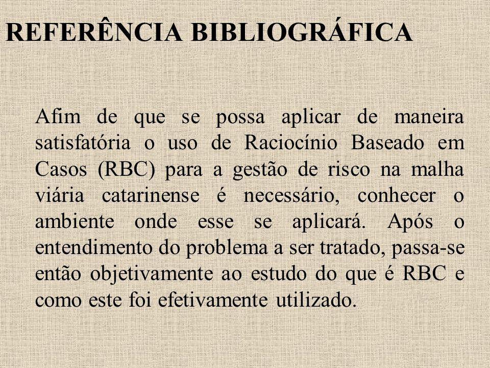 REFERÊNCIA BIBLIOGRÁFICA Afim de que se possa aplicar de maneira satisfatória o uso de Raciocínio Baseado em Casos (RBC) para a gestão de risco na mal