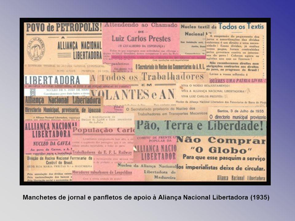 Manchetes de jornal e panfletos de apoio à Aliança Nacional Libertadora (1935)