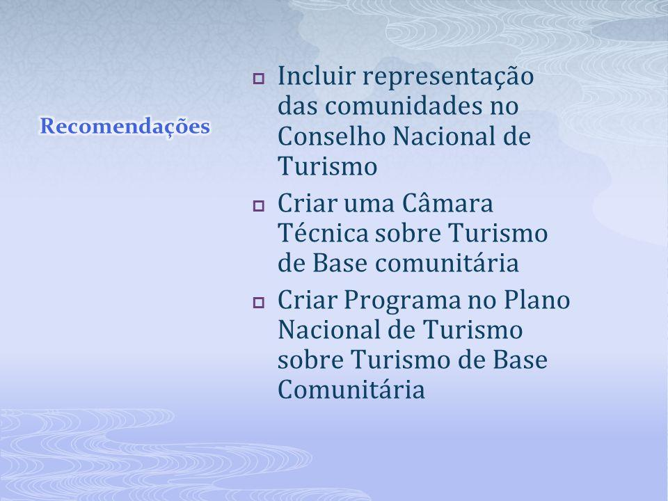 Incluir representação das comunidades no Conselho Nacional de Turismo Criar uma Câmara Técnica sobre Turismo de Base comunitária Criar Programa no Pla