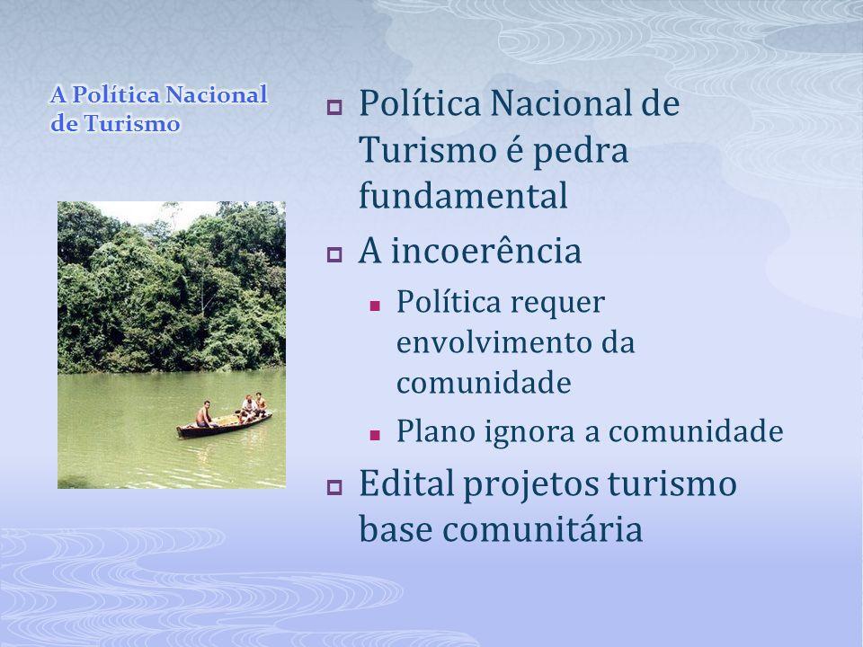 Política Nacional de Turismo é pedra fundamental A incoerência Política requer envolvimento da comunidade Plano ignora a comunidade Edital projetos tu