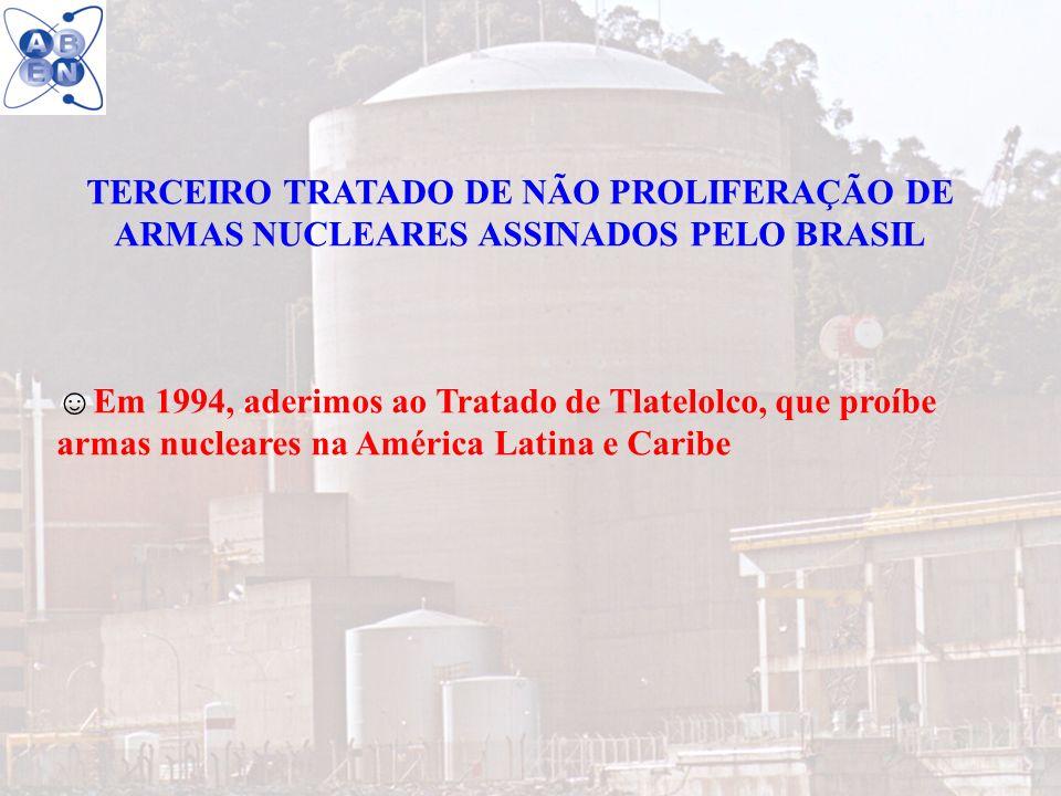20 TERCEIRO TRATADO DE NÃO PROLIFERAÇÃO DE ARMAS NUCLEARES ASSINADOS PELO BRASIL Em 1994, aderimos ao Tratado de Tlatelolco, que proíbe armas nucleare