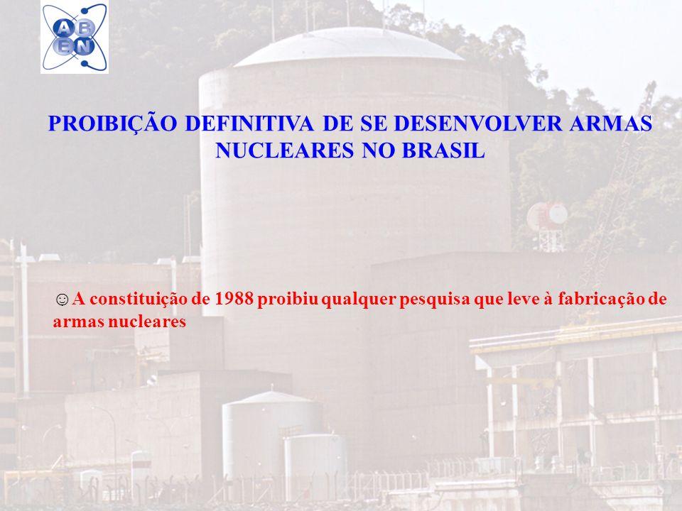 22 PROIBIÇÃO DEFINITIVA DE SE DESENVOLVER ARMAS NUCLEARES NO BRASIL A constituição de 1988 proibiu qualquer pesquisa que leve à fabricação de armas nu