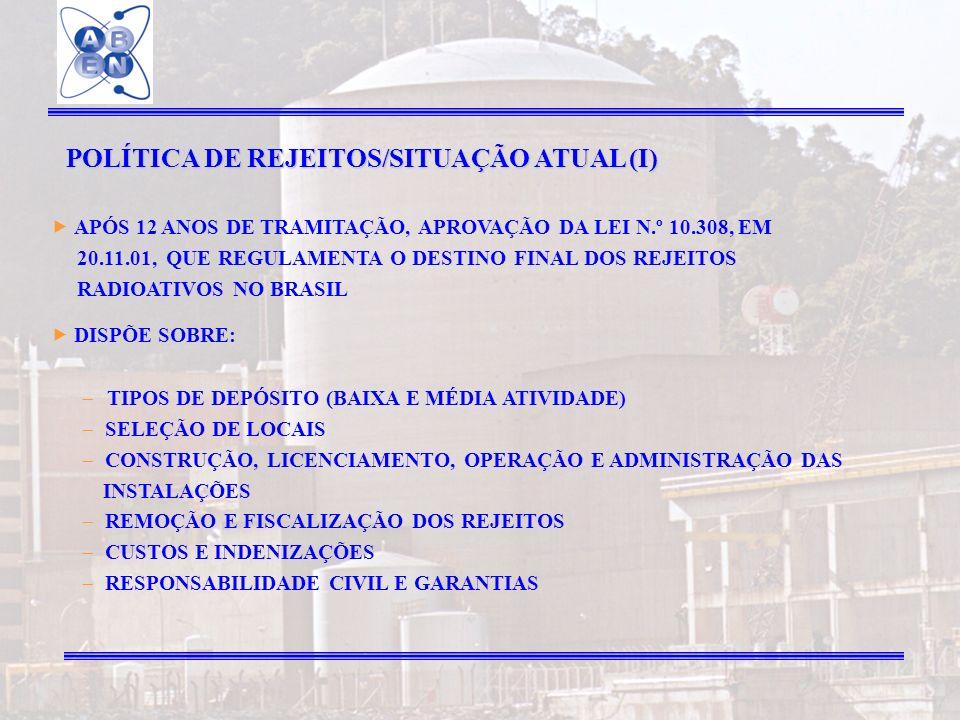 24 POLÍTICA DE REJEITOS/SITUAÇÃO ATUAL (I) APÓS 12 ANOS DE TRAMITAÇÃO, APROVAÇÃO DA LEI N.º 10.308, EM 20.11.01, QUE REGULAMENTA O DESTINO FINAL DOS R