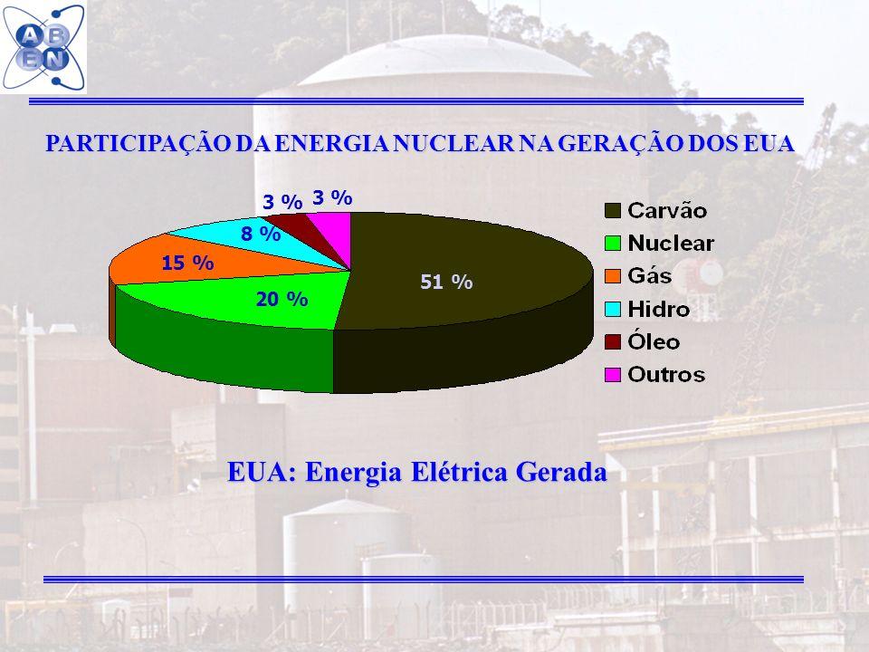30 PARTICIPAÇÃO DA ENERGIA NUCLEAR NA GERAÇÃO DOS EUA 51 % 20 % 15 % 8 % 3 % EUA: Energia Elétrica Gerada