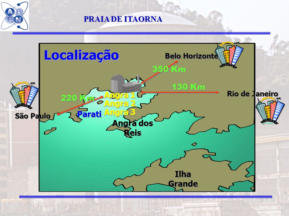 7 LocalizaçãoLocalização Belo Horizonte Angra dos Reis Parati Ilha Grande Angra 1 Angra 2 Angra 3 Angra 1 Angra 2 Angra 3 130 Km 350 Km 220 Km Rio de