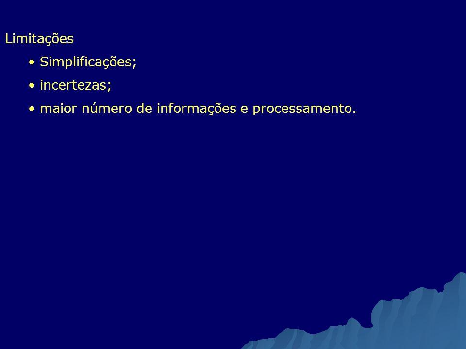 Limitações Simplificações; incertezas; maior número de informações e processamento.