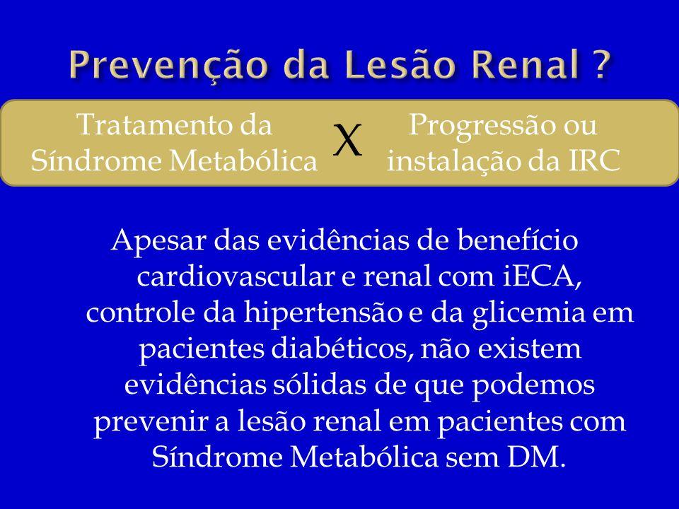 Apesar das evidências de benefício cardiovascular e renal com iECA, controle da hipertensão e da glicemia em pacientes diabéticos, não existem evidênc