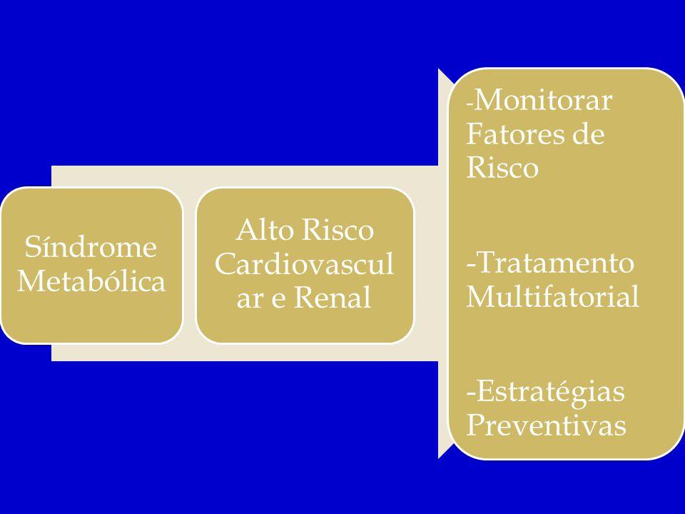 Síndrome Metabólica Alto Risco Cardiovascul ar e Renal - Monitorar Fatores de Risco -Tratamento Multifatorial -Estratégias Preventivas