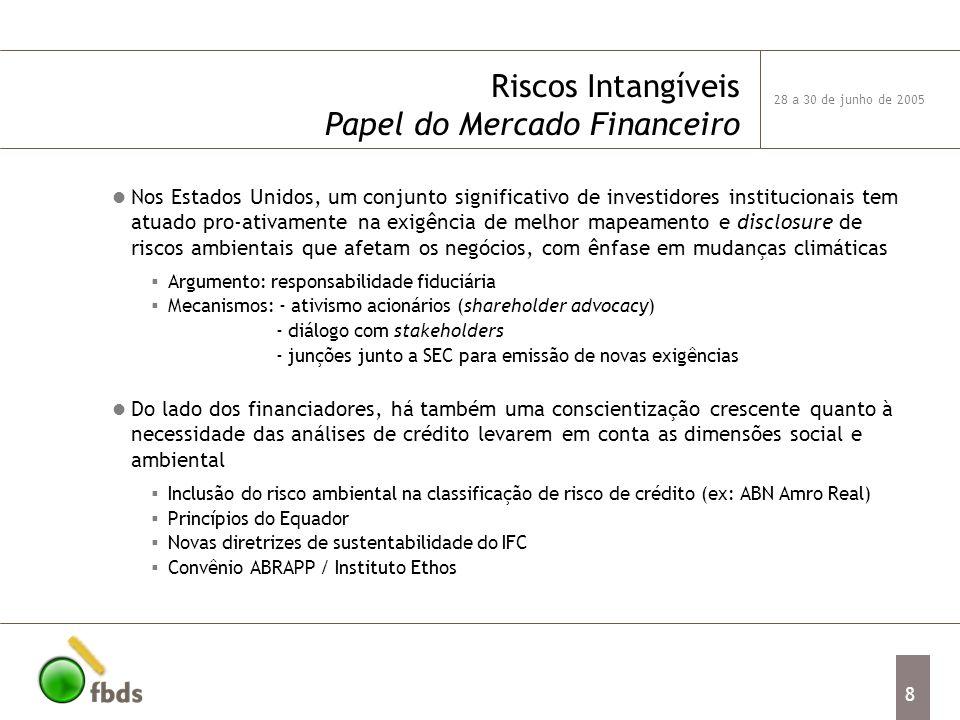 28 a 30 de junho de 2005 8 Riscos Intangíveis Papel do Mercado Financeiro Nos Estados Unidos, um conjunto significativo de investidores institucionais tem atuado pro-ativamente na exigência de melhor mapeamento e disclosure de riscos ambientais que afetam os negócios, com ênfase em mudanças climáticas Argumento: responsabilidade fiduciária Mecanismos: - ativismo acionários (shareholder advocacy) - diálogo com stakeholders - junções junto a SEC para emissão de novas exigências Do lado dos financiadores, há também uma conscientização crescente quanto à necessidade das análises de crédito levarem em conta as dimensões social e ambiental Inclusão do risco ambiental na classificação de risco de crédito (ex: ABN Amro Real) Princípios do Equador Novas diretrizes de sustentabilidade do IFC Convênio ABRAPP / Instituto Ethos
