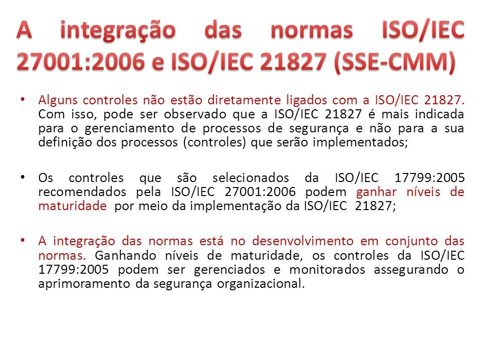 Alguns controles não estão diretamente ligados com a ISO/IEC 21827. Com isso, pode ser observado que a ISO/IEC 21827 é mais indicada para o gerenciame