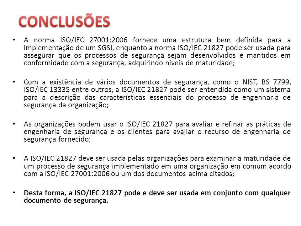 A norma ISO/IEC 27001:2006 fornece uma estrutura bem definida para a implementação de um SGSI, enquanto a norma ISO/IEC 21827 pode ser usada para asse
