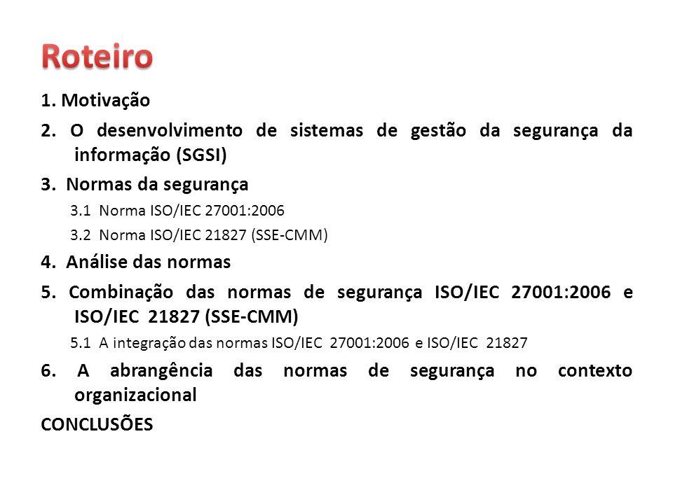 1. Motivação 2. O desenvolvimento de sistemas de gestão da segurança da informação (SGSI) 3. Normas da segurança 3.1 Norma ISO/IEC 27001:2006 3.2 Norm