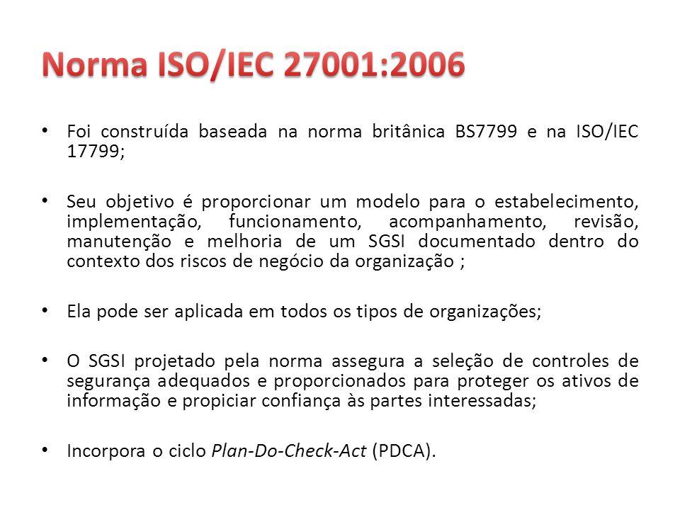 Foi construída baseada na norma britânica BS7799 e na ISO/IEC 17799; Seu objetivo é proporcionar um modelo para o estabelecimento, implementação, func