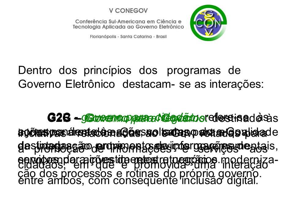 G2C - governo para cidadão: refere-se às iniciativas relacionadas ao e-Gov, voltadas para a promoção de informações e serviços aos cidadãos, em que é