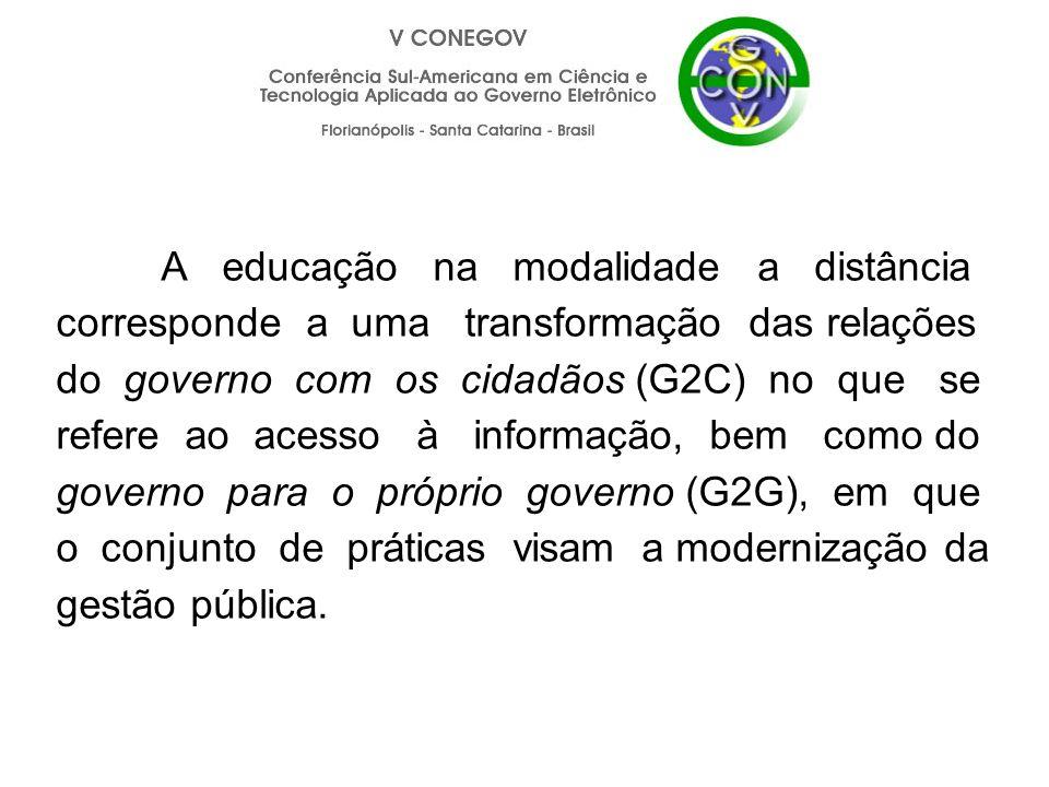 A educação na modalidade a distância corresponde a uma transformação das relações do governo com os cidadãos (G2C) no que se refere ao acesso à inform