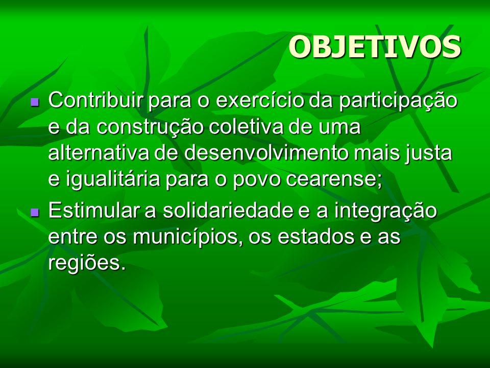 OBJETIVOS Contribuir para o exercício da participação e da construção coletiva de uma alternativa de desenvolvimento mais justa e igualitária para o p
