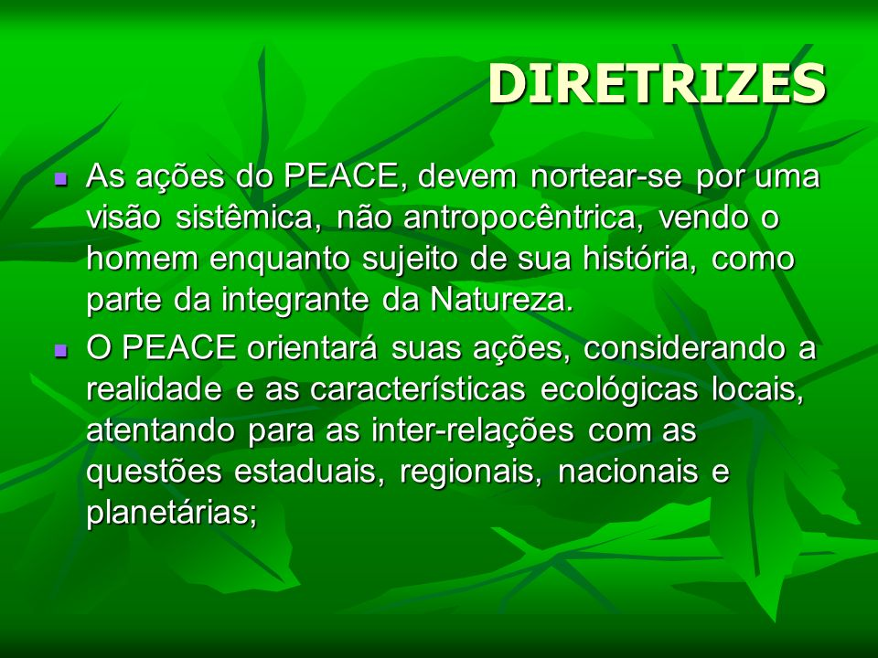 DIRETRIZES As ações do PEACE, devem nortear-se por uma visão sistêmica, não antropocêntrica, vendo o homem enquanto sujeito de sua história, como part
