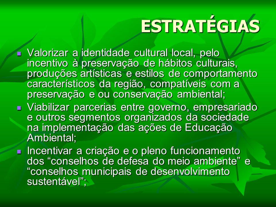ESTRATÉGIAS Valorizar a identidade cultural local, pelo incentivo à preservação de hábitos culturais, produções artísticas e estilos de comportamento