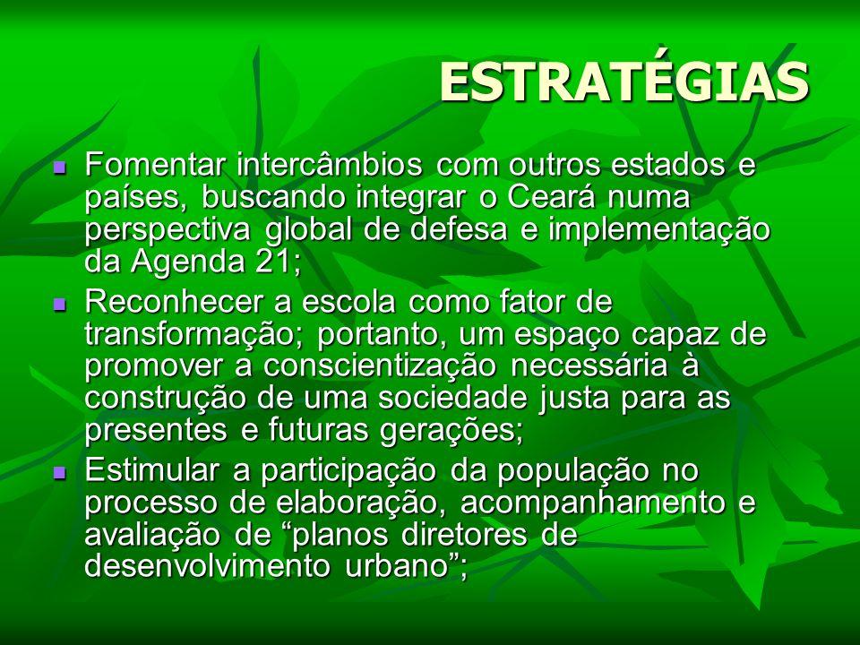 ESTRATÉGIAS Fomentar intercâmbios com outros estados e países, buscando integrar o Ceará numa perspectiva global de defesa e implementação da Agenda 2