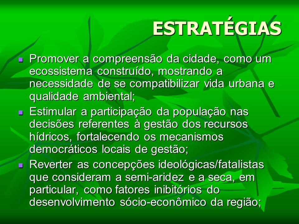 ESTRATÉGIAS Promover a compreensão da cidade, como um ecossistema construído, mostrando a necessidade de se compatibilizar vida urbana e qualidade amb