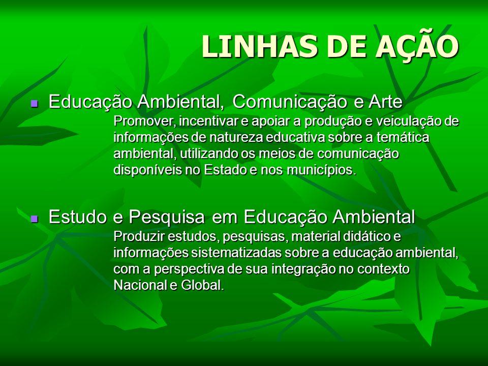 LINHAS DE AÇÃO Educação Ambiental, Comunicação e Arte Educação Ambiental, Comunicação e Arte Promover, incentivar e apoiar a produção e veiculação de