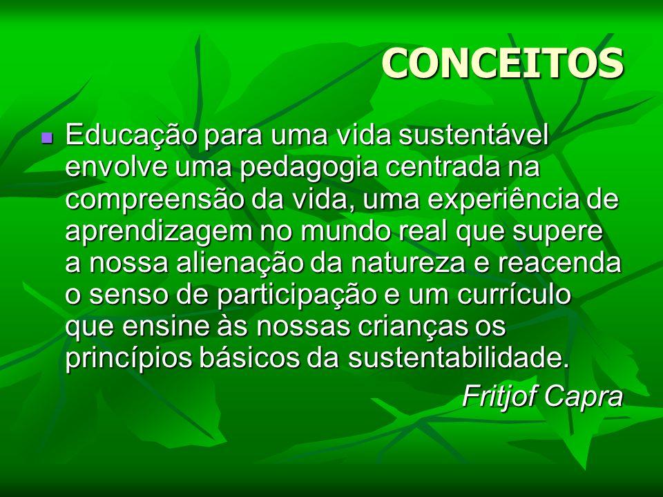 CONCEITOS Educação para uma vida sustentável envolve uma pedagogia centrada na compreensão da vida, uma experiência de aprendizagem no mundo real que