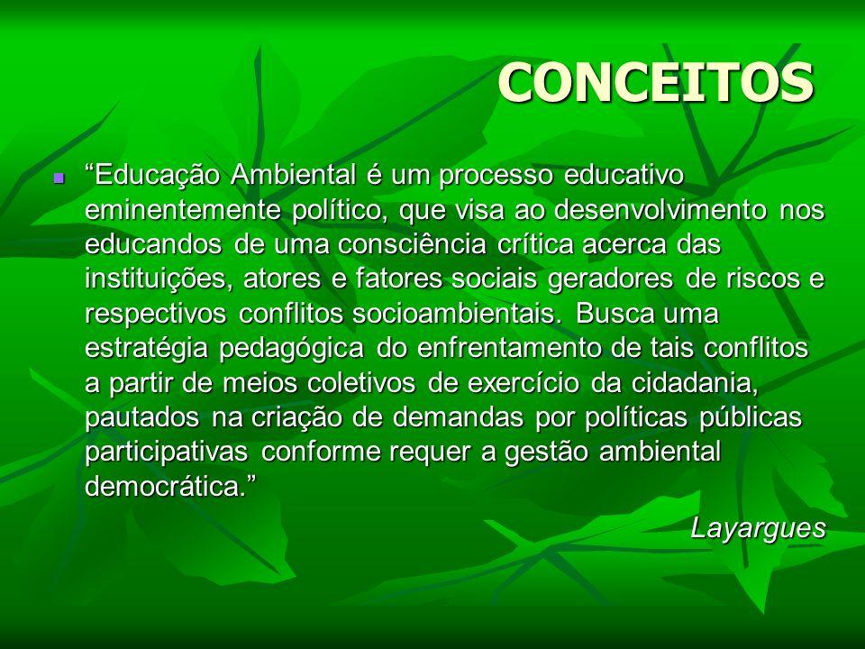 CONCEITOS Educação Ambiental é um processo educativo eminentemente político, que visa ao desenvolvimento nos educandos de uma consciência crítica acer