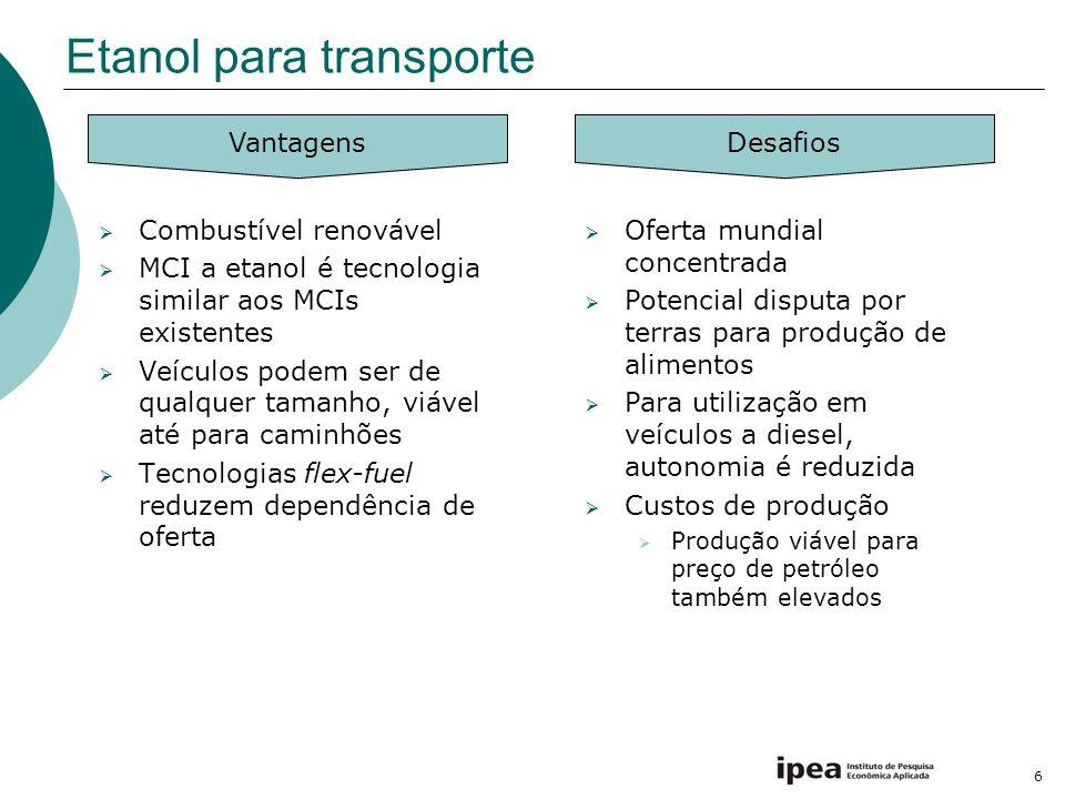 6 Etanol para transporte Combustível renovável MCI a etanol é tecnologia similar aos MCIs existentes Veículos podem ser de qualquer tamanho, viável at