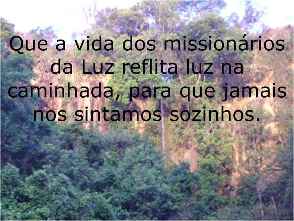 Que a vida dos missionários da Luz reflita luz na caminhada, para que jamais nos sintamos sozinhos.