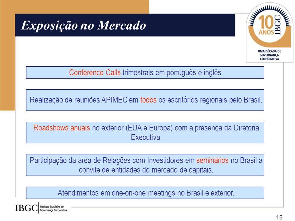 16 Conference Calls trimestrais em português e inglês. Realização de reuniões APIMEC em todos os escritórios regionais pelo Brasil. Exposição no Merca