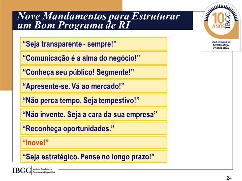 24 Nove Mandamentos para Estruturar um Bom Programa de RI Seja transparente - sempre! Comunicação é a alma do negócio! Apresente-se. Vá ao mercado! Nã