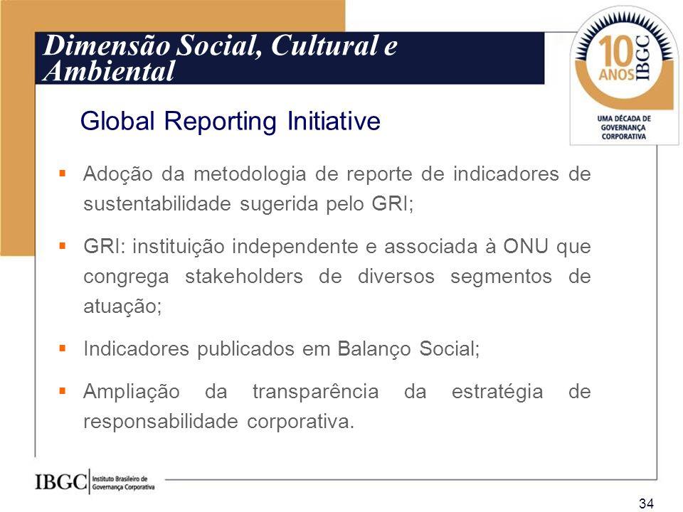 34 Adoção da metodologia de reporte de indicadores de sustentabilidade sugerida pelo GRI; GRI: instituição independente e associada à ONU que congrega