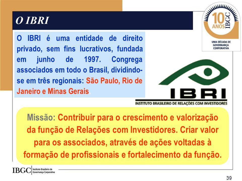 39 O IBRI O IBRI é uma entidade de direito privado, sem fins lucrativos, fundada em junho de 1997. Congrega associados em todo o Brasil, dividindo- se