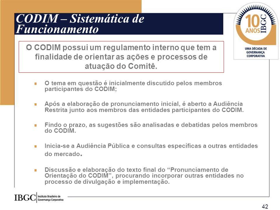 42 O CODIM possui um regulamento interno que tem a finalidade de orientar as ações e processos de atuação do Comitê. CODIM – Sistemática de Funcioname
