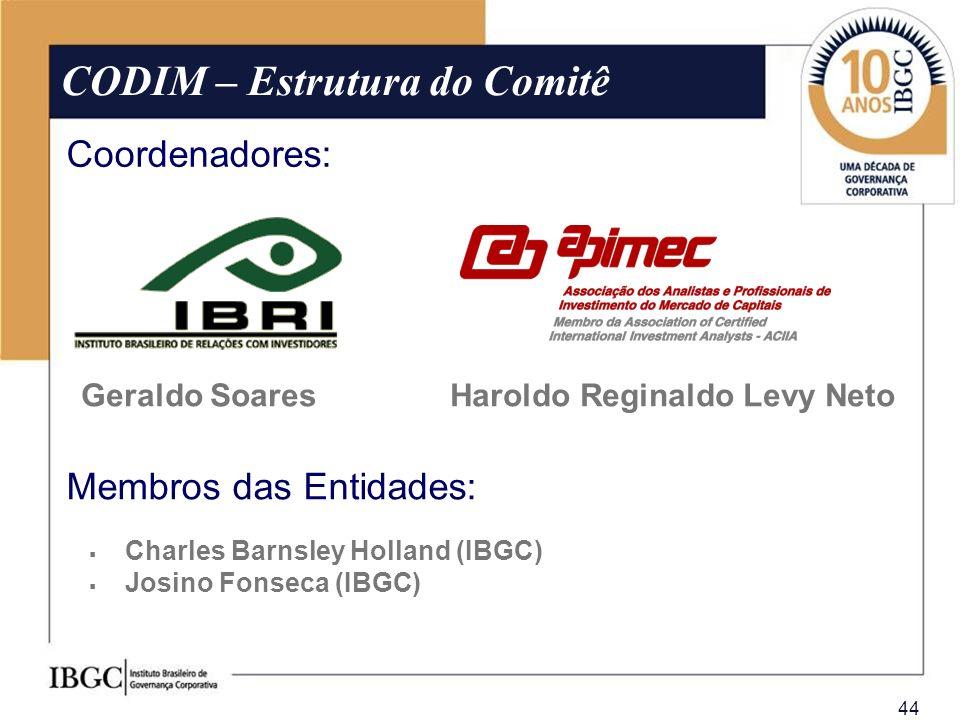 44 Geraldo Soares CODIM – Estrutura do Comitê Coordenadores: Haroldo Reginaldo Levy Neto Charles Barnsley Holland (IBGC) Josino Fonseca (IBGC) Membros