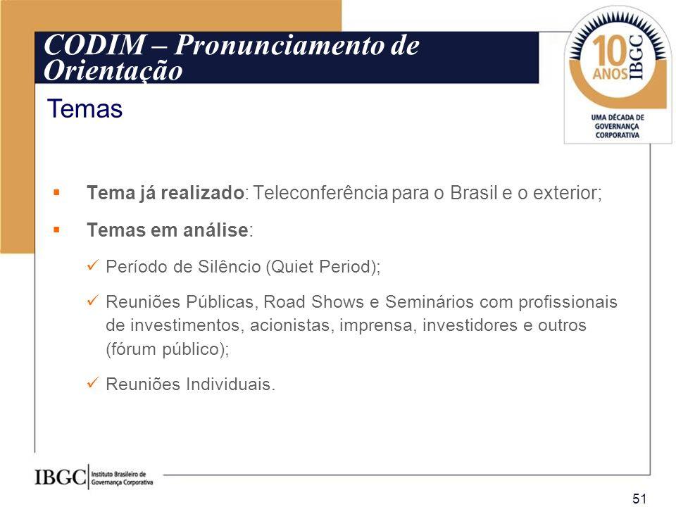 51 Tema já realizado: Teleconferência para o Brasil e o exterior; Temas em análise: Período de Silêncio (Quiet Period); Reuniões Públicas, Road Shows