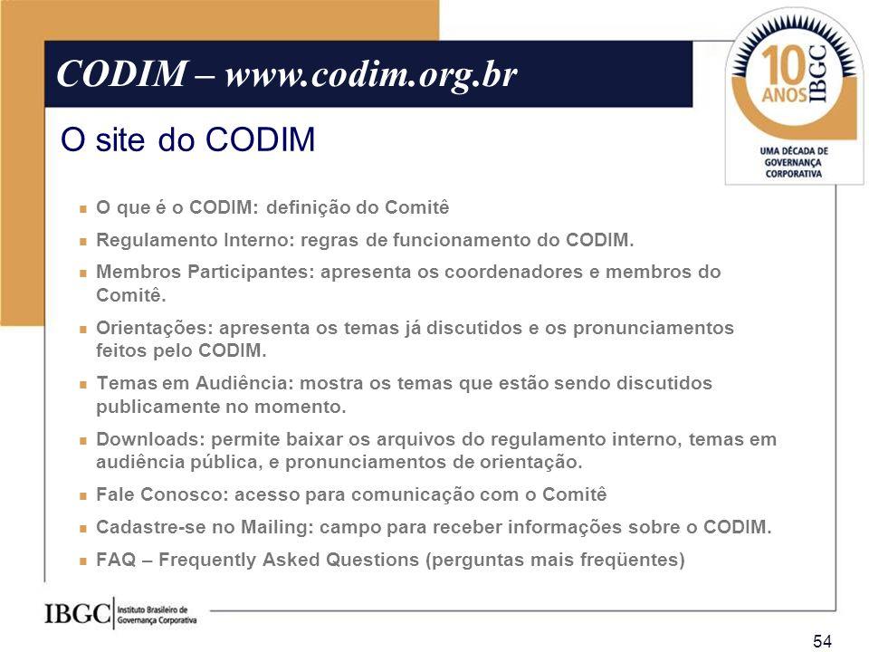 54 O que é o CODIM: definição do Comitê Regulamento Interno: regras de funcionamento do CODIM. Membros Participantes: apresenta os coordenadores e mem