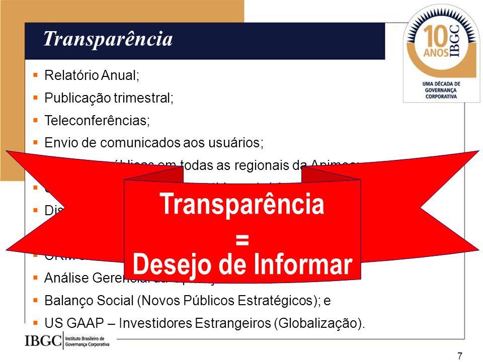 7 Transparência Relatório Anual; Publicação trimestral; Teleconferências; Envio de comunicados aos usuários; Reuniões públicas em todas as regionais d