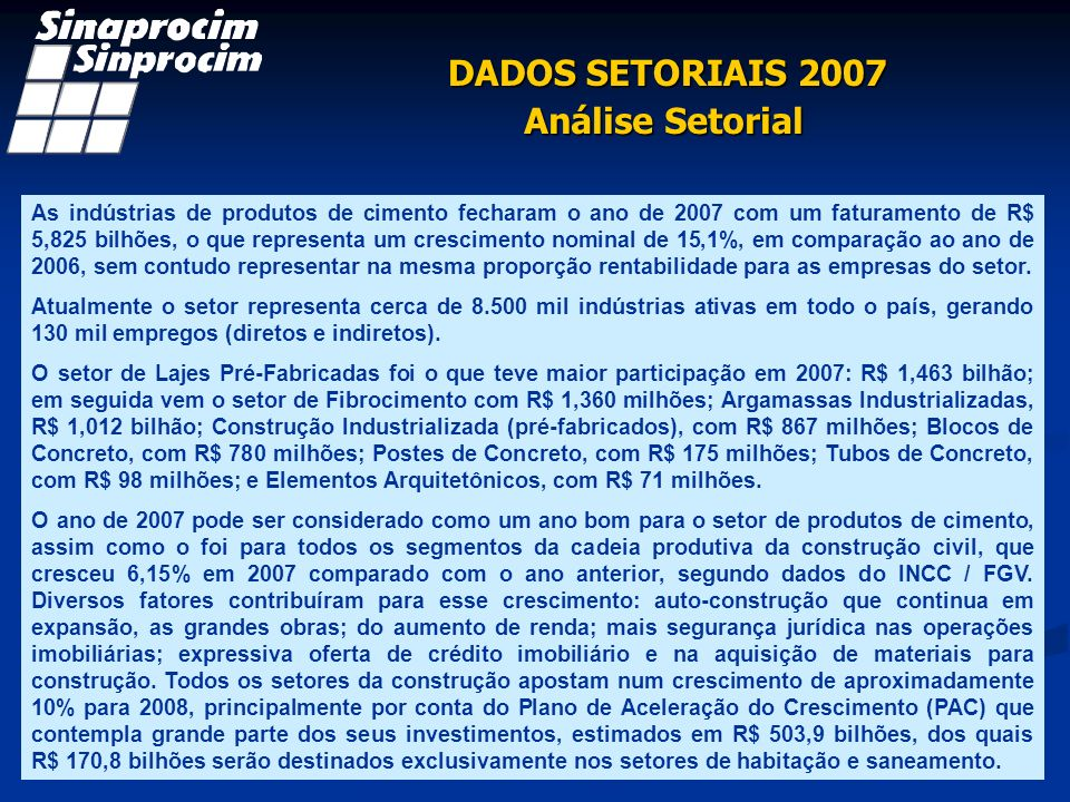 DADOS SETORIAIS 2007 Análise Setorial As indústrias de produtos de cimento fecharam o ano de 2007 com um faturamento de R$ 5,825 bilhões, o que repres