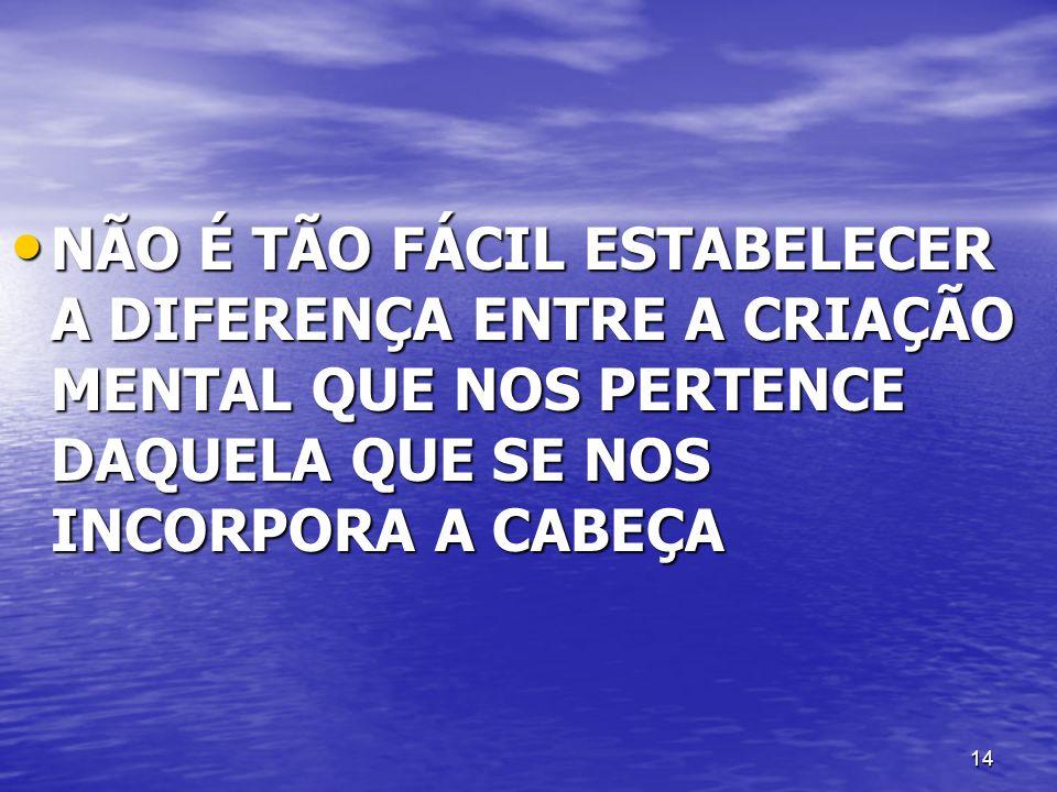 14 NÃO É TÃO FÁCIL ESTABELECER A DIFERENÇA ENTRE A CRIAÇÃO MENTAL QUE NOS PERTENCE DAQUELA QUE SE NOS INCORPORA A CABEÇA NÃO É TÃO FÁCIL ESTABELECER A